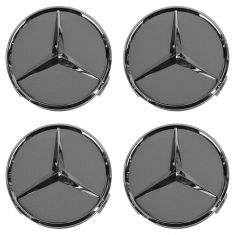 98-14 Mercedes Benz C CL CLK CLS E G GL GLK M R S Class Titanium/Chrome Center Cap (MB) Set of 4