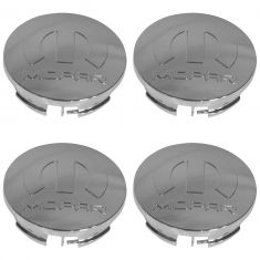 09-15 Dart, Challenger, Charger, Magnum, 300 Chrome ~Mopar~ Logoed (63mm OD) Ctr Cap (Set of 4) (MP)