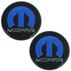 08-12 Dodge Challenger (w/20 In Heritage Whl) Blk, Blue, & Chrome Logoed Center Cap Pair (Mopar)