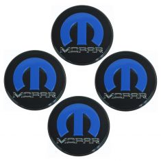 08-12 Dodge Challenger (w/20 In Heritage Whl) Blk, Blue, & Chrome Logoed Center Cap Set of 4 (Mopar)