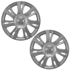 11-14 Mazda 2 (7 Spoke) ~Mazda~ Logoed Silver & Chrome Hubcap Wheel Cover Pair (Mazda)