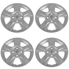 07-09 Nissan Sentra (w/16 Inch Wheel) Logoed 5 Spoke Silver Wheel Cover Hub Cap Set of 4 (Nissan)