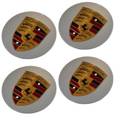 48-15 Porsche Multifit (exc 19 In Carrera Sport Whl) ~PORSCHE CREST~ Logoed Center Cap (Set of 4)