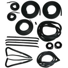 1985-87 GM Pickup Complete Weatherstrip Kit for Trucks with Black Seal Trim and 1pc Vent Window Seal