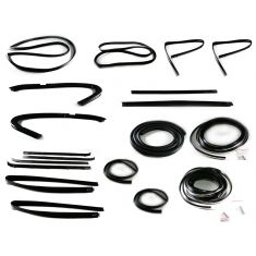 1973-77 GM Pickup Complete Weatherstrip Kit for Trucks with Chrome Seal Trim