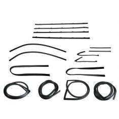 1967 GM Pickup Complete Weatherstrip Kit for Trucks WITH BLACK Seal Trim and Small Rear Window WITHOUT Trim Groove