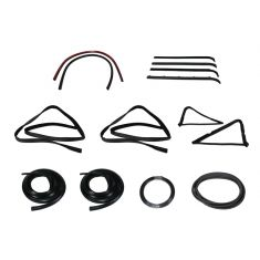 1980-86 Ford F-Series Pickup Complete Weatherstrip Kit for Trucks WITH Plastic Chrome Window Trim