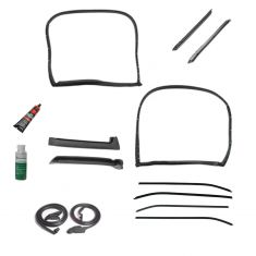 73-77 Corvette Coupe w/T-Tops Complete Weatherstrip & Window Sweep w/Install Kit (14 Piece Set)