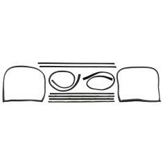 GM Pickup 8pc Window Sweep with Chrome Bead and Run Channel Weatherstrip Kit