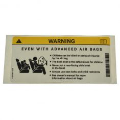 10-15 GLK RH; 10-14 C, CLS, CLA, E Cnv, E Cpe, R Class Sunvisor Mtd Air Bag Warning Decal LH=RH (MB)